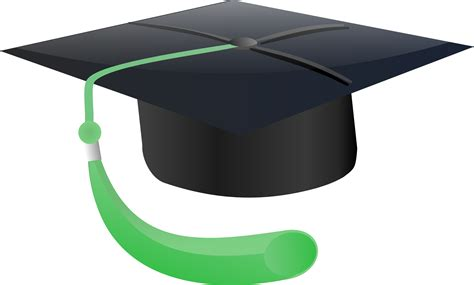graduation cap free graduation cap with green tassle clipart illustration
