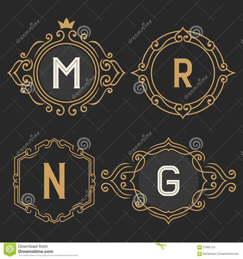 business card monogram template the set of stylish vintage monogram emblem and logo