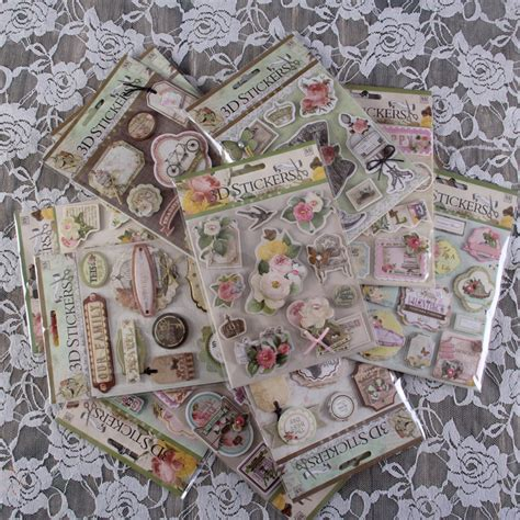 Craft Paper Supplies - vintage deocrative 3d adhesive flower stickers for diy