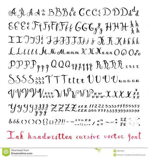 lettere in stato minuscolo alfabeto corsivo di vettore dell inchiostro d annata