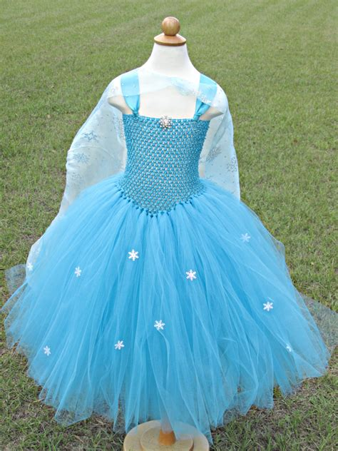 Handmade Dresses - elsa tutu dress frozen inspired with handmade cape turquoise