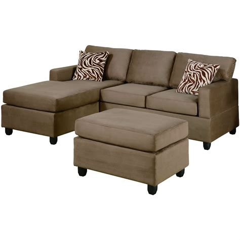 Microfiber Sectional With Ottoman 3 Pieces Saddle Microfiber Reversible Sectional Sofa Set Ottoman Www Redglobalmx Org