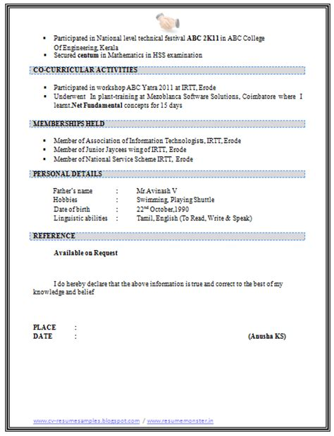 10000 cv and resume sles with free b tech resume template