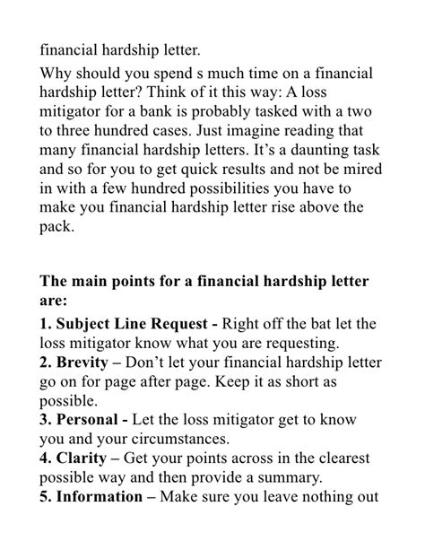 Mortgage Letter Explaining Debt Financial Hardship Letter