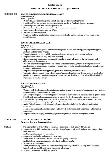 exle resume format for technical lead technical team lead resume sles velvet