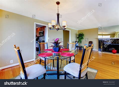 Dining Room Pink And Green Dining Room With Table And Fireplace In Green And