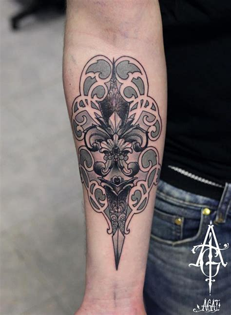 baroque tattoo amazing dagger baroque by agat artemji best