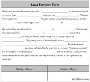 Extending Rental Car Agreement Lease Extension Form Sle Lease Extension Form Sle