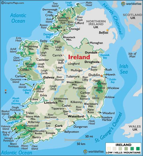 ireland landforms map