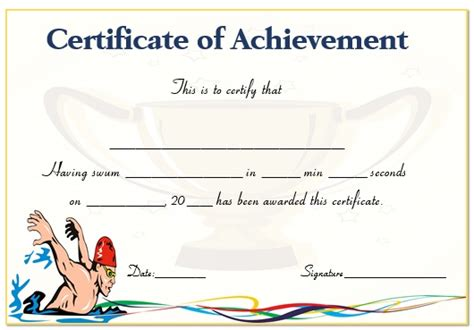 junior achievement certificate template 30 free swimming certificate templates printable word