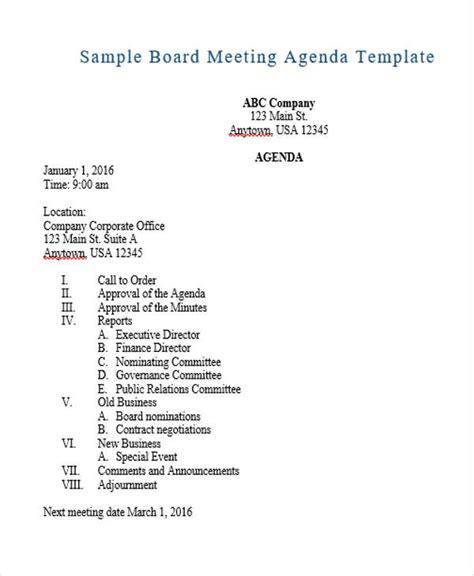 business meeting agenda template download free premium templates