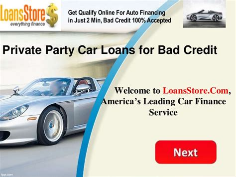 private party car loans  bad credit