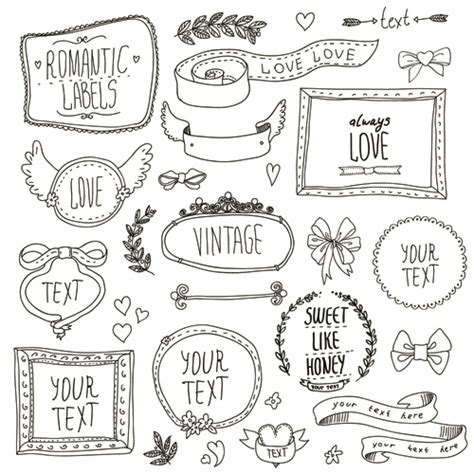 how to use doodle text frame with ornaments elements vector