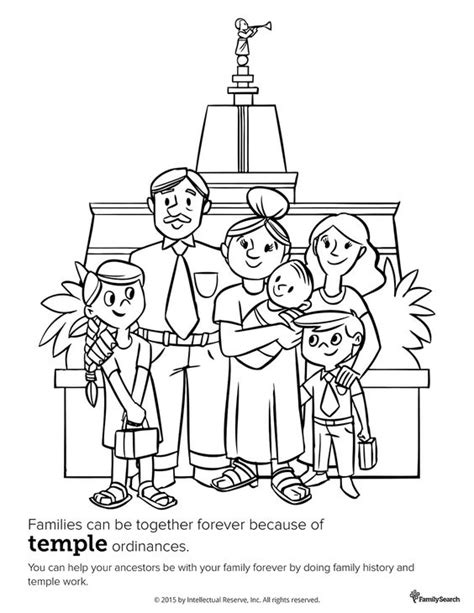 lds coloring pages families can be together forever family at the temple primary coloring page for kids lds