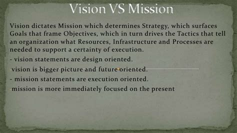 mission statement vs objectives vision vs mission