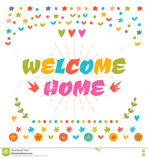 Welcome Home Text With Colorful Design Elements Greeting Card Cartoon Vector Cartoondealer Welcome Home Card Template