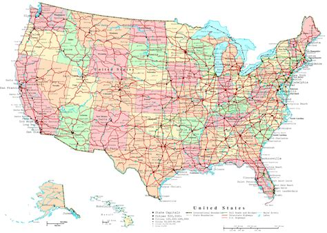 road map large detailed administrative and road map of the usa the
