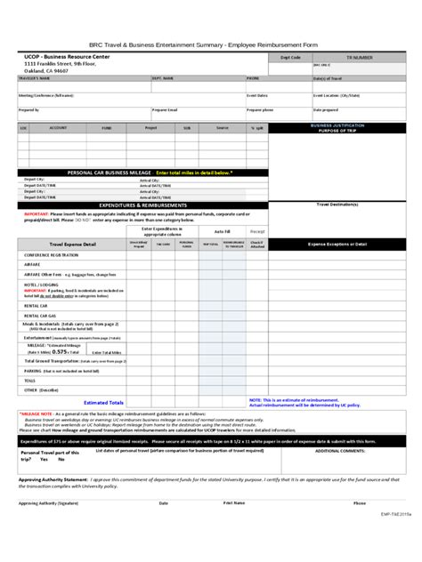 8 reimbursement form template procedure template sample