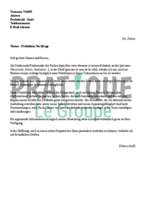 Exemple De Lettre Amicale En Allemand lettre de motivation pour un stage en allemand pratique fr