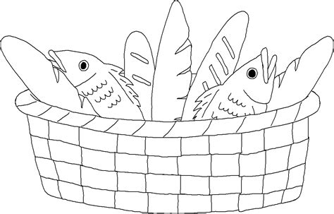 Coloring Pages Of Fish And Bread | bread basket coloring page