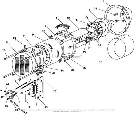 honda generator parts diagram honda eb11000 a generator jpn vin ezcq 3000001 parts