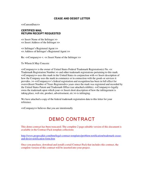 trademark cease and desist letter sle free printable