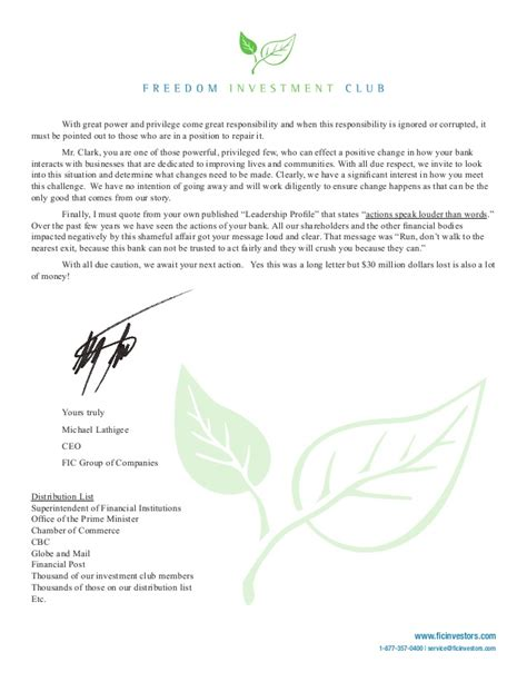 Complaint Letter To Td Bank Michael Lathigee Writes Letter Of Complaint To Td Bank