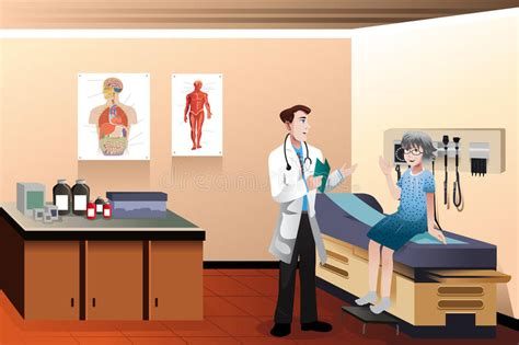 oficina first medical doctor patient in the clinic stock vector illustration