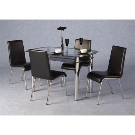 harley black and clear glass dining table and 4 black