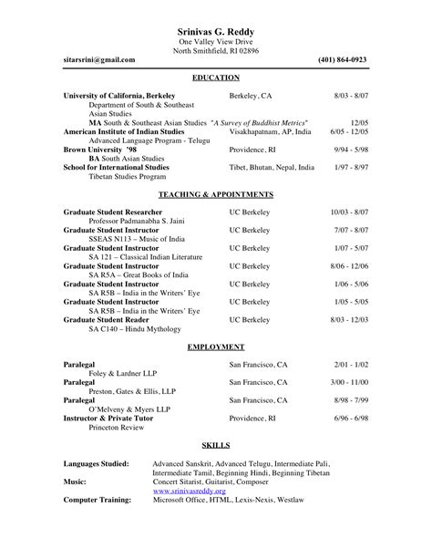 Template For Academic Resume by Academic Templates Curriculum Vitae Tips And Sles Recentresumes