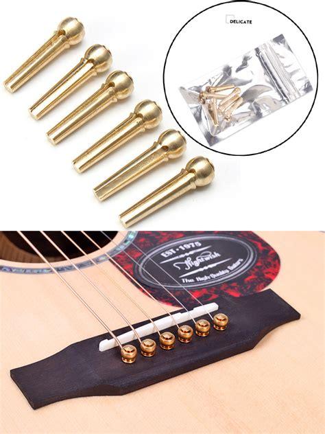 Replacement String Bridge Pin Gitar 6pcs 6pcs durable metal brass bridge pins for acoustic guitar golden accessories dove and