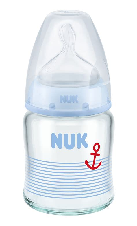 Nuk Printed Glass Bottle With Silicone Teat 240ml nuk choice glass baby bottle anti colic silicone spout blau 120ml buy at kidsroom