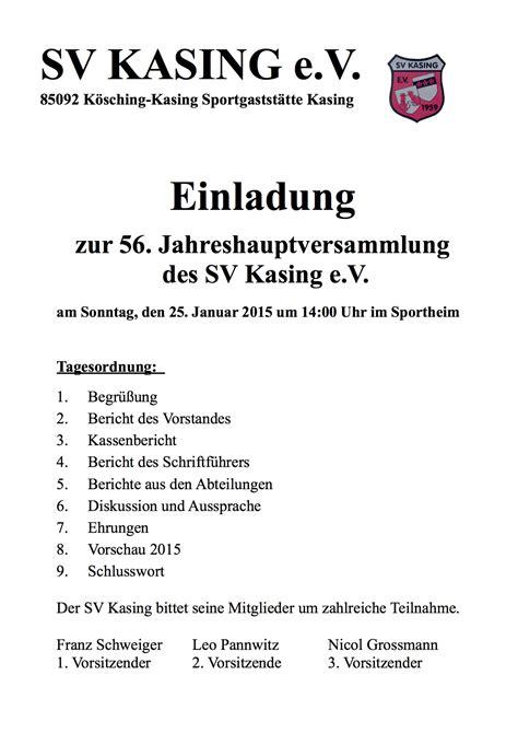 Muster Einladung Jahreshauptversammlung Sportverein Einladung Zur 56 Jahreshauptversammlung Sv Kasing E V 1959