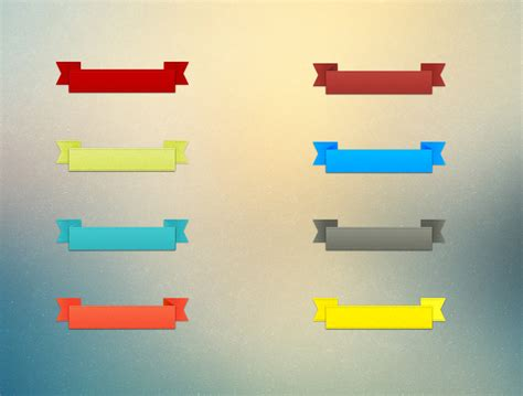 colorful label ribbon banners set psd download download psd