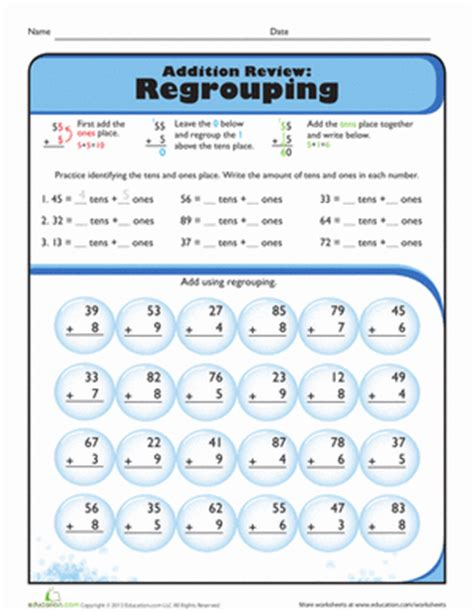 addition with regrouping worksheets 2nd grade review addition with regrouping worksheet education