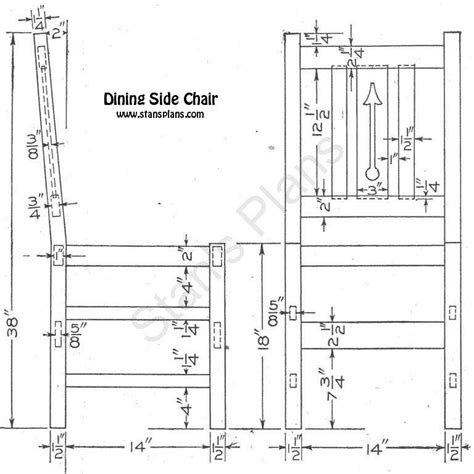 design blueprints for free printable plans for a dining side chair