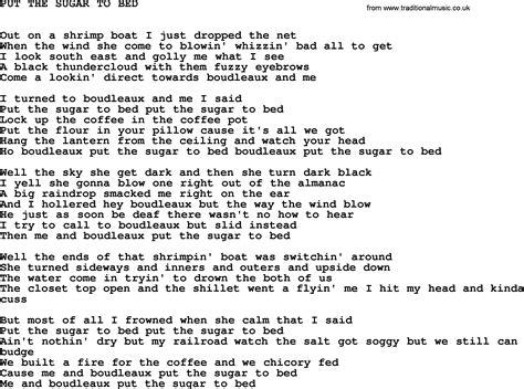 put you to bed lyrics johnny cash song put the sugar to bed lyrics