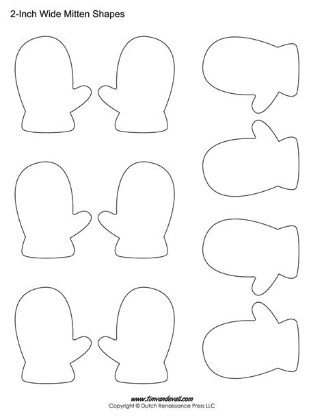 printable holiday shapes printable mitten templates blank mitten shape pdfs