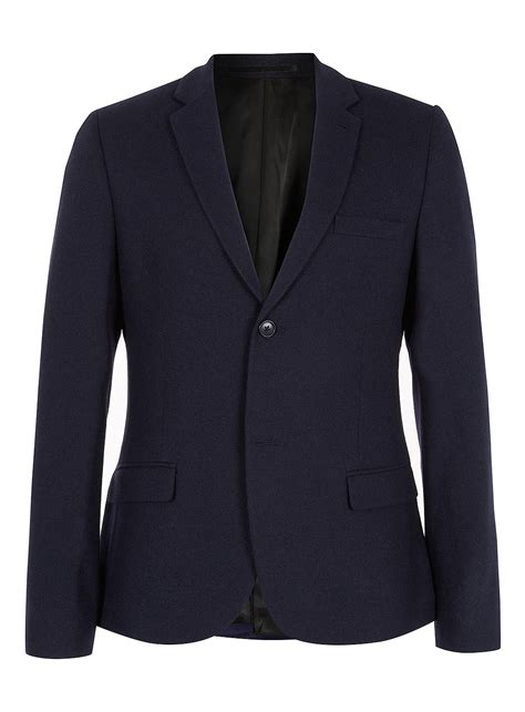 Blazer Topman Topman Navy Flannel Blazer In Blue For Lyst