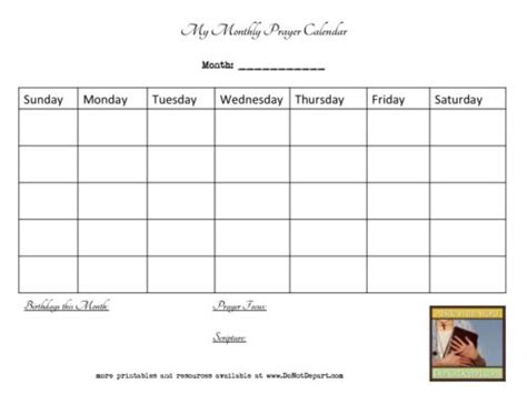 Bible Notebook Prayer Calendars Do Not Depart Prayer Schedule Template
