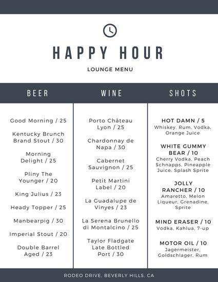 happy hour menu template black minimalist happy hour menu templates by canva