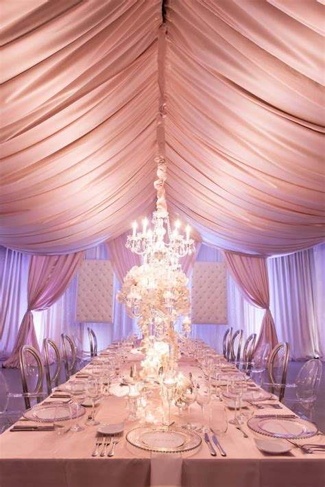 event curtains blush silver corporate anniversary dinner party at