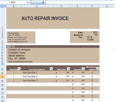 auto repair invoice template excel auto repair invoice template in excel format exceltemple