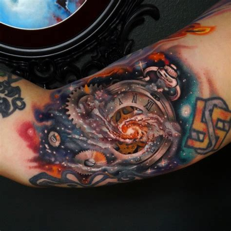 black and grey galaxy tattoo galaxy clock arm tattoo best tattoo ideas gallery