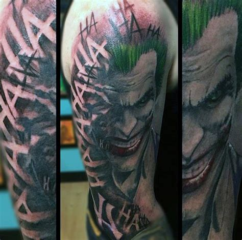 joker tattoo right bicep 90 joker tattoos for men iconic villain design ideas
