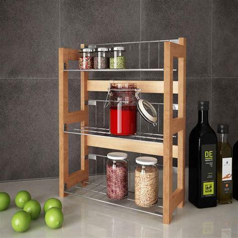 mensola cucina mensola cucina portaspezie cibo 33x42cm 3 ripiani in legno