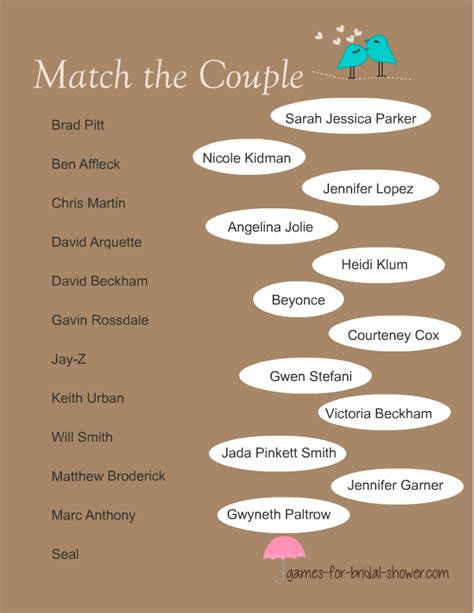 Printable Games For Married Couples | free printable match the celebrity couple game