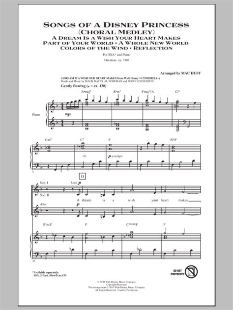 disney medleys for piano books songs of a disney princess choral medley sheet