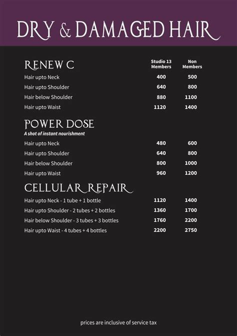 jcp hair salon price list hair spa price list images