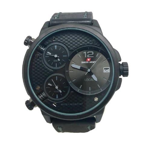 jual swiss army jam tangan pria black tali kulit